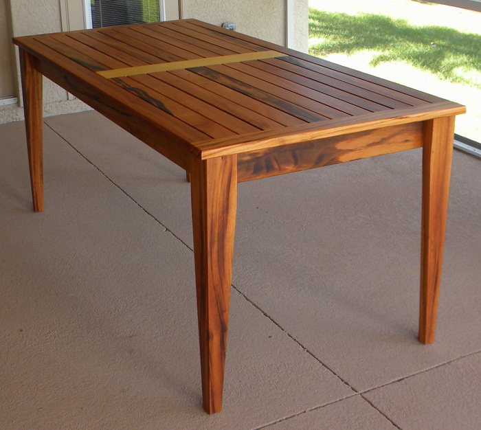 This Tigerwood dining table with Garapa accent inlay is truly a one of a  kind custom. The owners visited the workshop and hand picked the lumber  that they ...